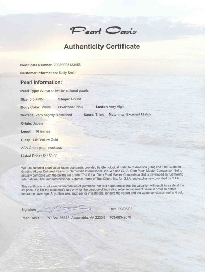 Black pearls certificate