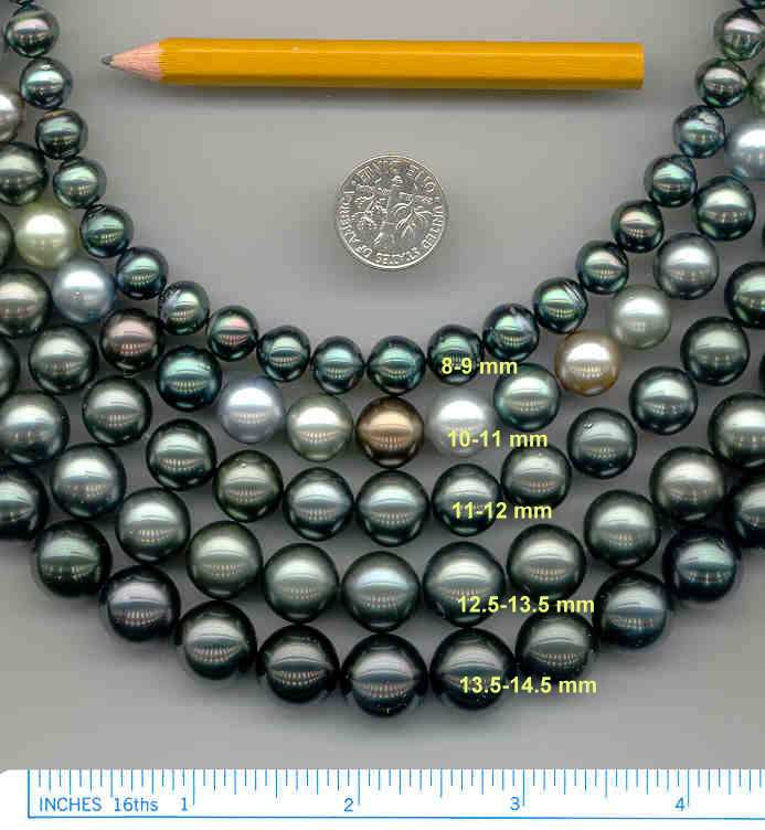 Tahitian Black Pearls range in size from 8MM to 15MM